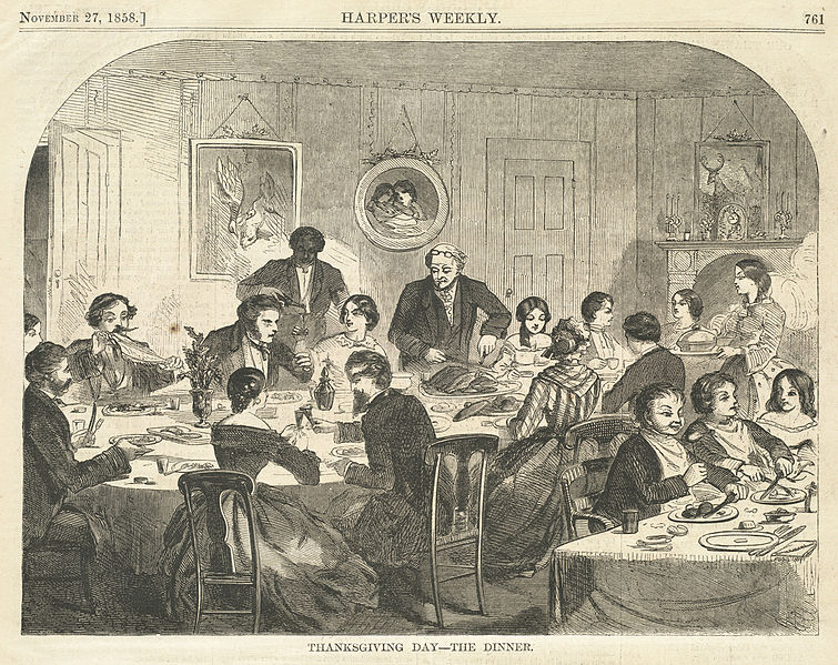 """Thanksgiving Day - The Dinner,"" by Winslow Homer, Harper's Weekly, November 27, 1858"