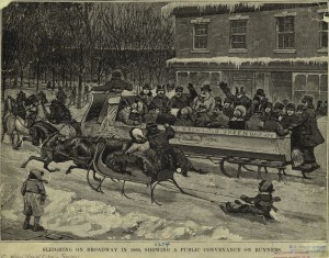 Sleighing on Broadway, 1860.