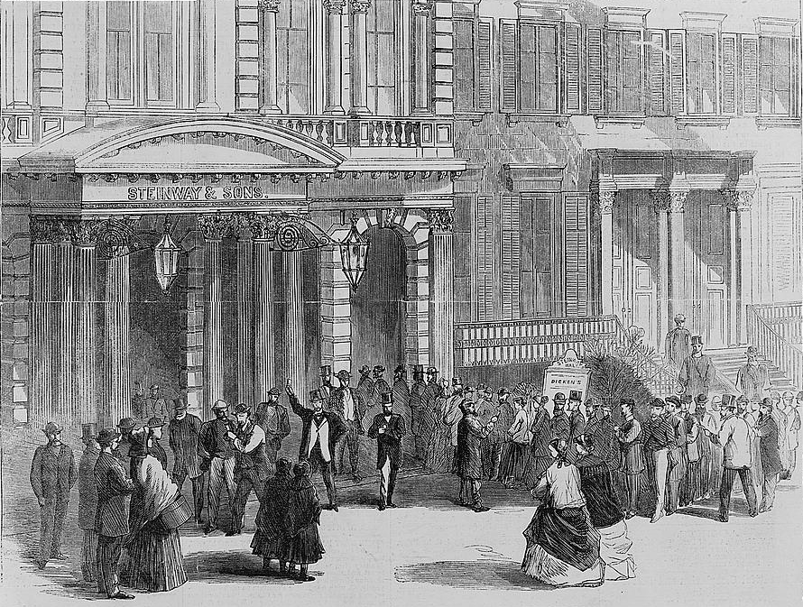 spectators buying tickets for dickenss reading at steinway hall in new york city 1867