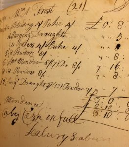 Ledger Page from Samuel Seabury's Account Book, 1780-1781. (NYHS Manuscript Collection)