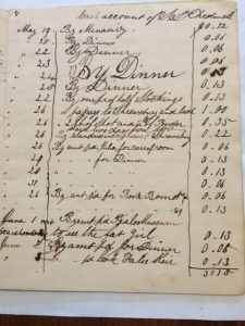 Page from Samuel Tredwell's Cash Book, 1843. (MHM Archives).