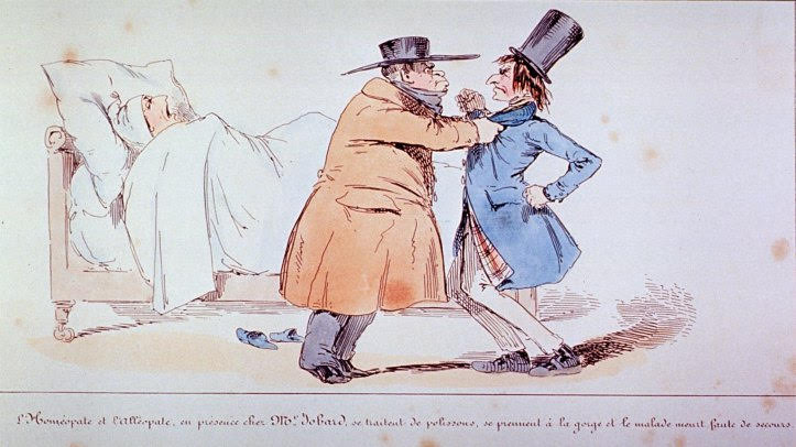 "Henry Monnier. ""Allopath and Homeopath argue over method of treatment. [183-]"". (National Library of Medicine.)"