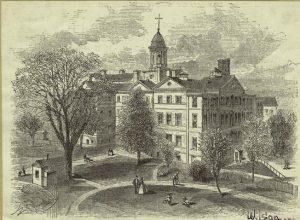 New York Hospital, 1791. (digitalcollections.nypl.org).