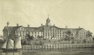 Alms House Hospital, Bellevue, 1852. (digitalcollections.nypl.org).