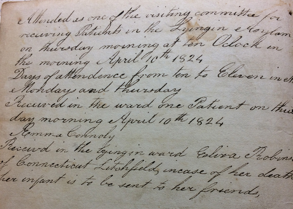 Page from Mrs. Collin Reed's Ledger Book, 1824. (NYHS Manuscript Collection).