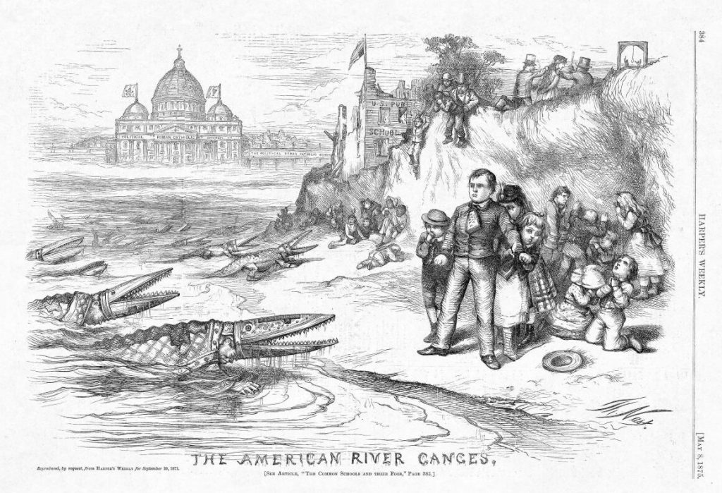 "Thomas Nast. ""The American River Ganges."" Harper's Weekly, 1875. (commons.m.wikimedia.org)"
