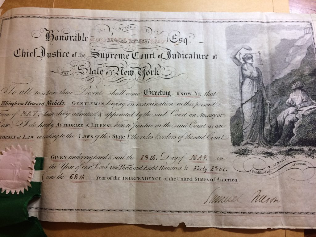 Effingham H. Nichols NYS Law License, Issued May 18, 1844. (Nichols Family Papers, NYHS).