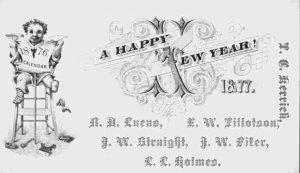 Gentlemen's New Year's Calling Card, 1877. www.npr.org.