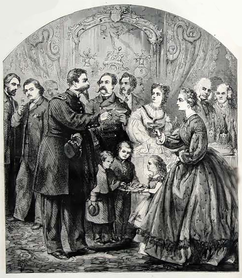 """New Year's Day"" by Thomas Nast. Harpers Weekly, 1864."