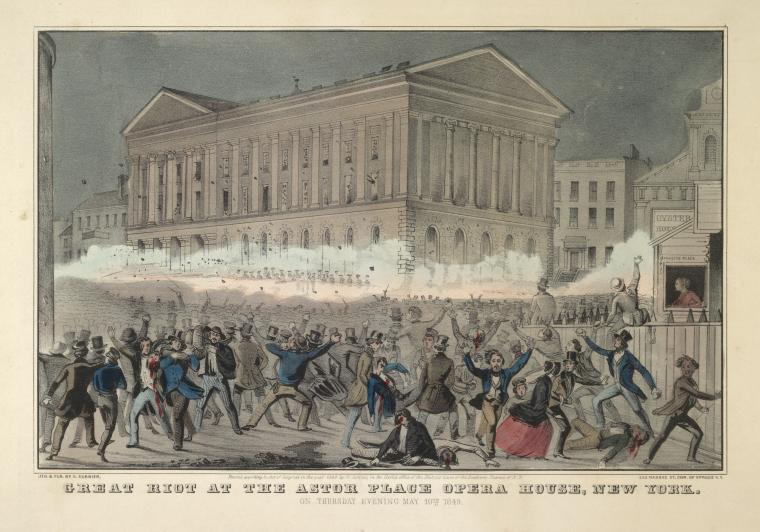 """Great riot at the Astor Place opera house,"" 1849. NYPL.org."