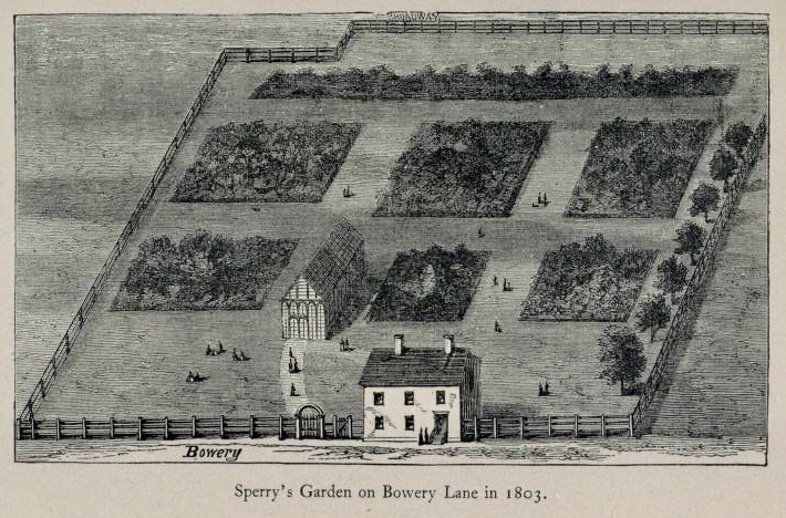Sperry's Garden on Bowery Lane, 1803.