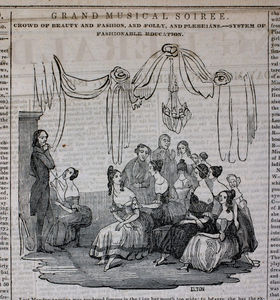 Mrs. Okills Academy, attended by Elizabeth Tredwell and several of her sisters, held musical soirees to showcase the accomplishments of students. New York Herald, 1840.