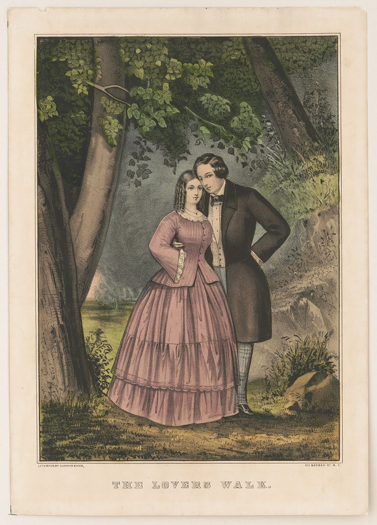 The Lovers Walk, Currier & Ives, 1856.