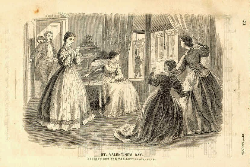 """St. Valentine's Day. Looking Out for the Letter-Carrier,"" Godey's Lady's Book, 1862."