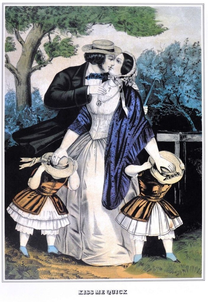 Currier & Ives. Kiss Me Quick, ca. 1845.
