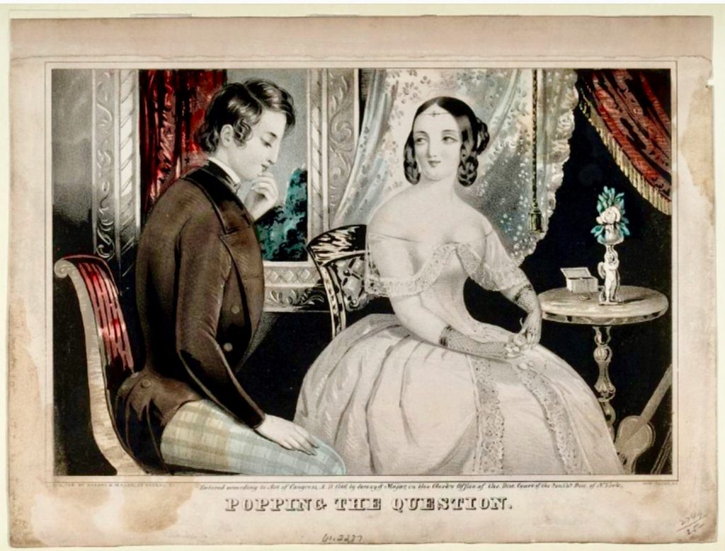 Sarony & Majors. Popping the Question, 1846. Henry T. Peters Collection, Smithsonian Institute.