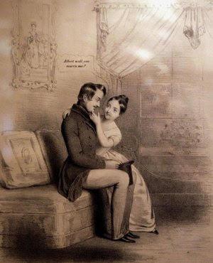 Queen Victoria Proposing to Albert, 1840.