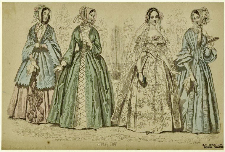 Woman in Bridal Gown with Other Women, 1844, Digital Collections, NYPL.