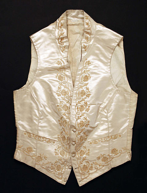Embroidered Silk Wedding Waistcoat, American, mid-19th century. Metropolitan Museum of Art, C.l.55.1.17.