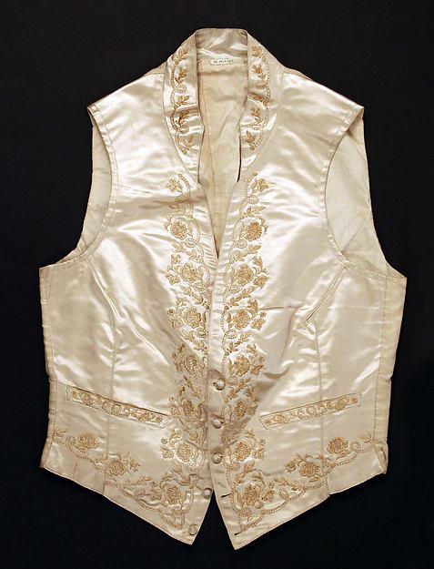 Embroidered Silk Wedding Waistcoat, American, mid-19th century. Metropolitan Museum of Art, C.l.55.1.17.