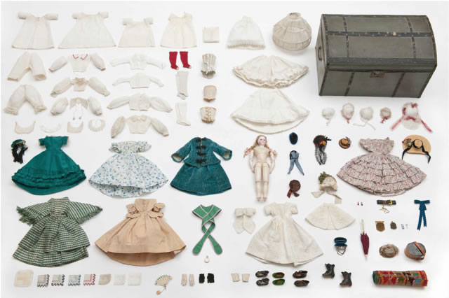 Louis Vuitton. Doll, Trousseau, and Its Trunk, 1865. Les Arts Decoratif.