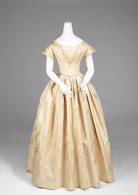 Silk Wedding Dress, American, 1845-1850, Metropolitan Museum of Art 2009.300.920a, b.