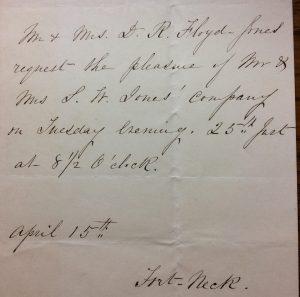 Wedding Invitation, 1854, Floyd-Jones Papers, NY-HS.