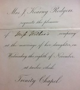 Wedding Invitation, 1865, Emily Hosack Rodgers Collection, NY-HS
