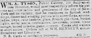 Wm. A. Tyson, Caterer, New York Tribune, Thursday, December 24, 1846 (click to enlarge)