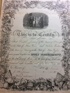 Marriage certificate, Smith Jennings and Nobelia Lockford, Stamford, N.Y., October 26, 1853. Lockwood Family Papers (1814-1878), Manuscripts Division, NY-HS.