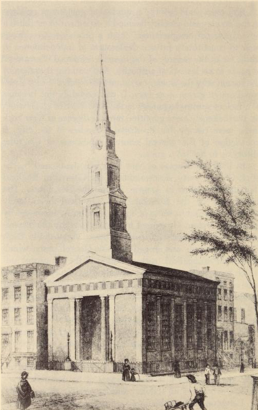 The First St. Bartholomew's Church, Lafayette Place and Great Jones Street, 1835-1872.