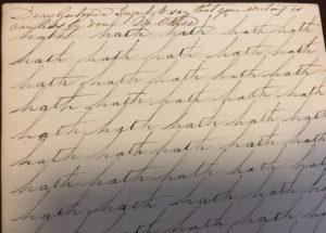 Gertrude Tredwell's Penmanship Book, Mrs. Okill's Academy, 1853-54. MHM 2002.4602.29.