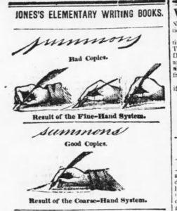 Advertisement for Jones's Elementary Writing Books. Evening Post, September 1, 1838.