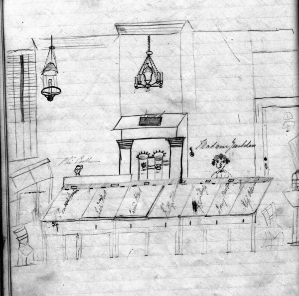 Classroom at Mrs. Okill's Academy, drawn by a boarding student in 1850.