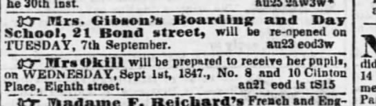 School Advertisements, Evening Post, August 30, 1847.