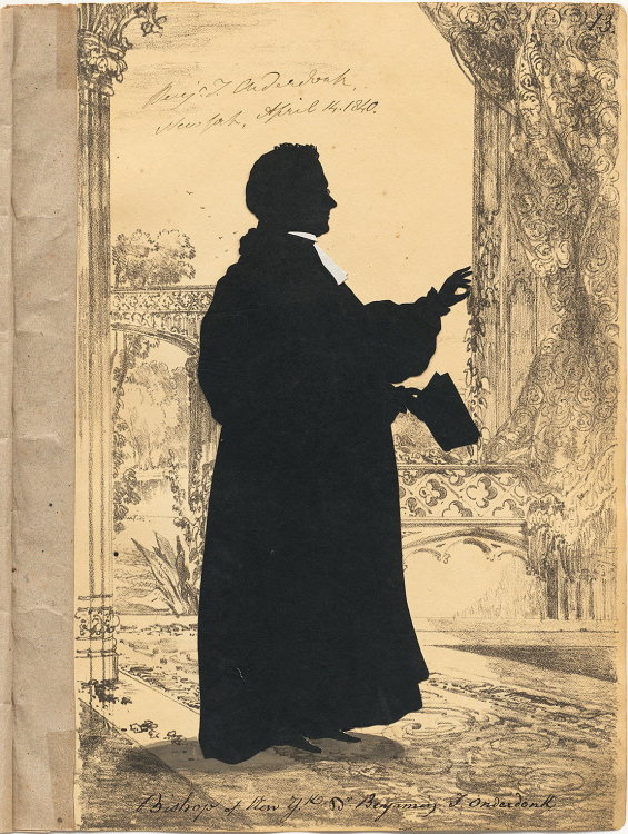 Auguste Edouart. Silhouette of Bishop Onderdonk, 1840. National Portrait Gallery, Smithsonian.