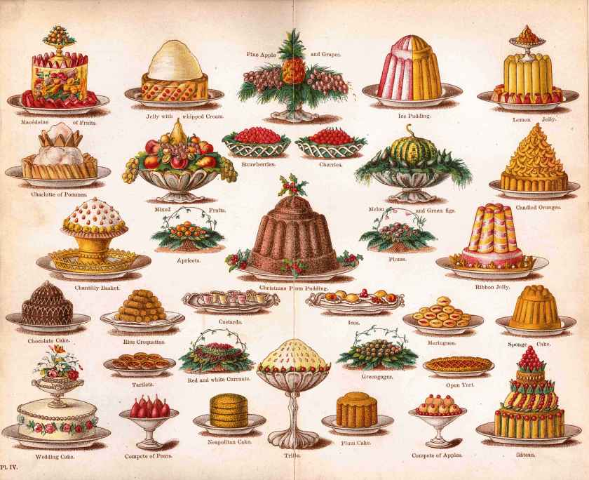 "Christmas Desserts, from ""Mrs. Beeton's Cookery Book,"" 1861."