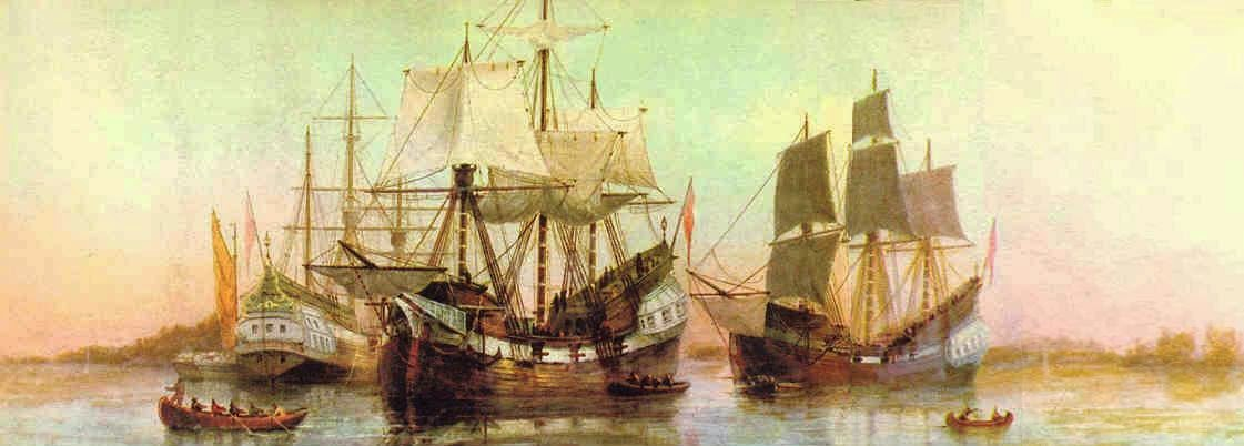 17th Century Ships in Boston Harbor. Painting by William Formby Halsall ca. 1880.