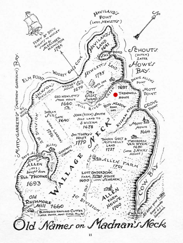 Illustration of Madnan's Neck with the Tredwell property marked in red. (The Book of Great Neck, 1936.)