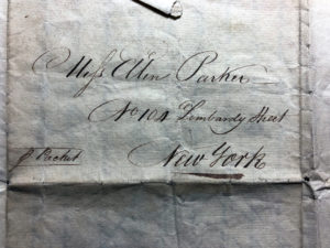 Letter Addressed to Eleanor Parker, 1810. Nichols Papers, N-Y HS