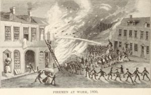 Firemen at Work in 1800, printed in King's Handbook of New York City, 1893.