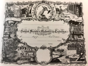 Membership Certificate, General Society of Mechanics and Tradesmen.