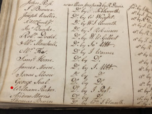 William Parker Initiation, G.S.M.T. Early Minutes, 1792. Courtesy of the Society. (Marked in red.)