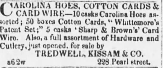 83afd1bbc252 Tredwell, Kissam & Co. Advertisement, Evening Post, 1827.