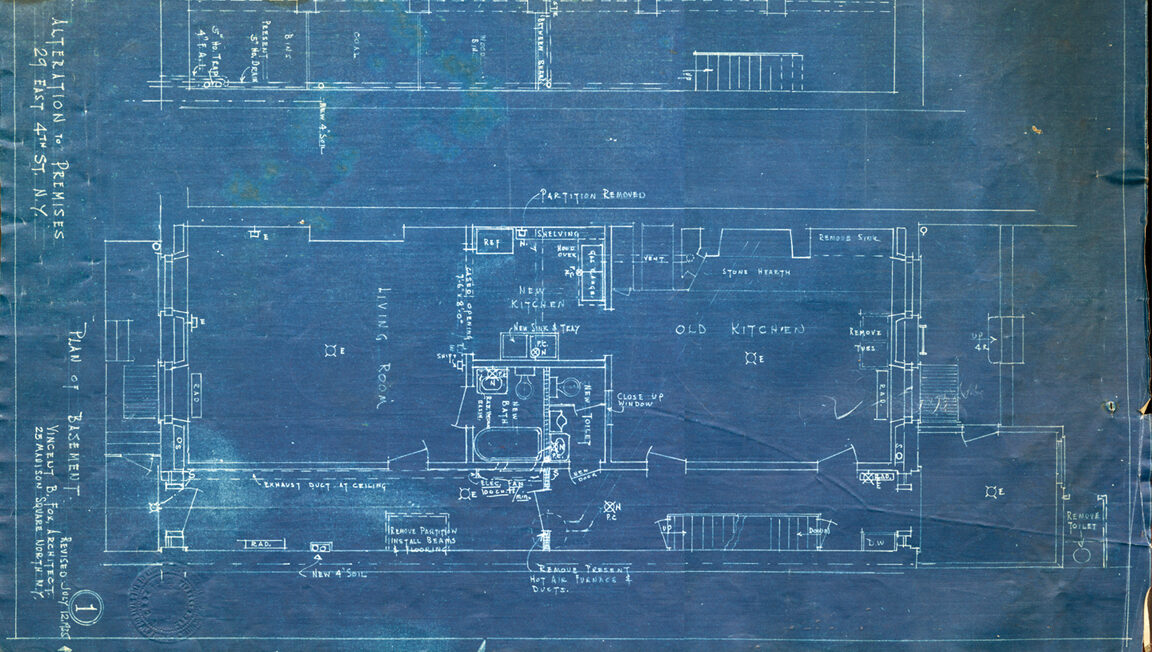 1930s Blueprint of the Ground Floor of the Merchant's House Museum