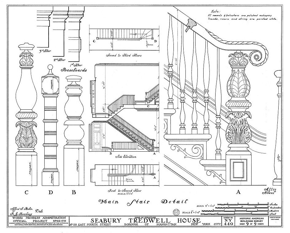 1936 architectural drawing showing details of the stairs, including elaborately carved newel posts, as well as stair elevation.